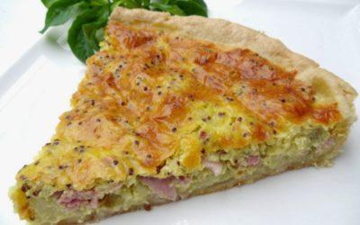 Tarte légère au chou-fleur, jambon et muscade